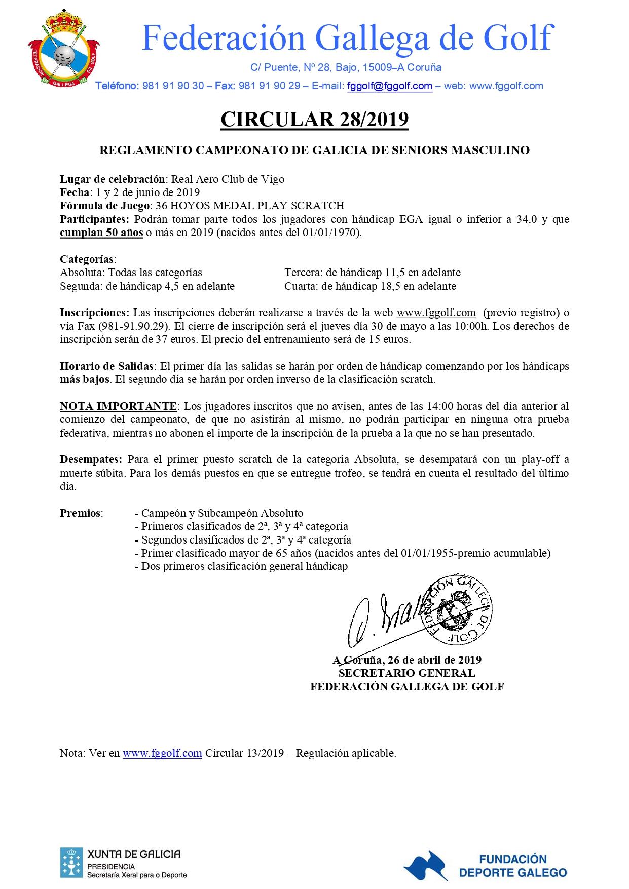 CAMPEONATO DE GALICIA SENIORS MASCULINO 2019